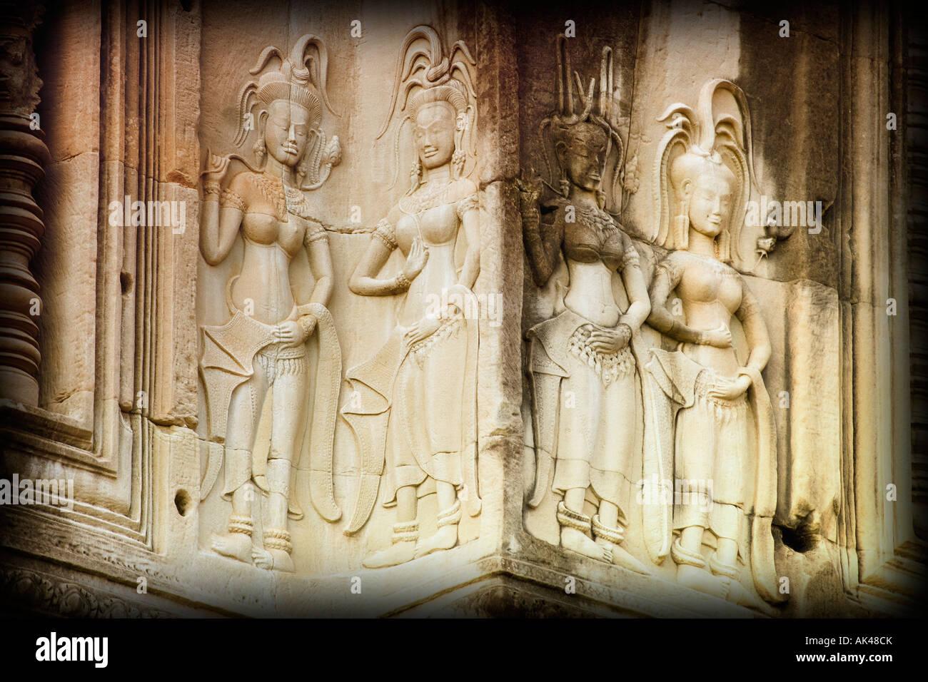 Bas-reliefs of Hindu myths at Angkor Wat, Angkor, Cambodia - Stock Image