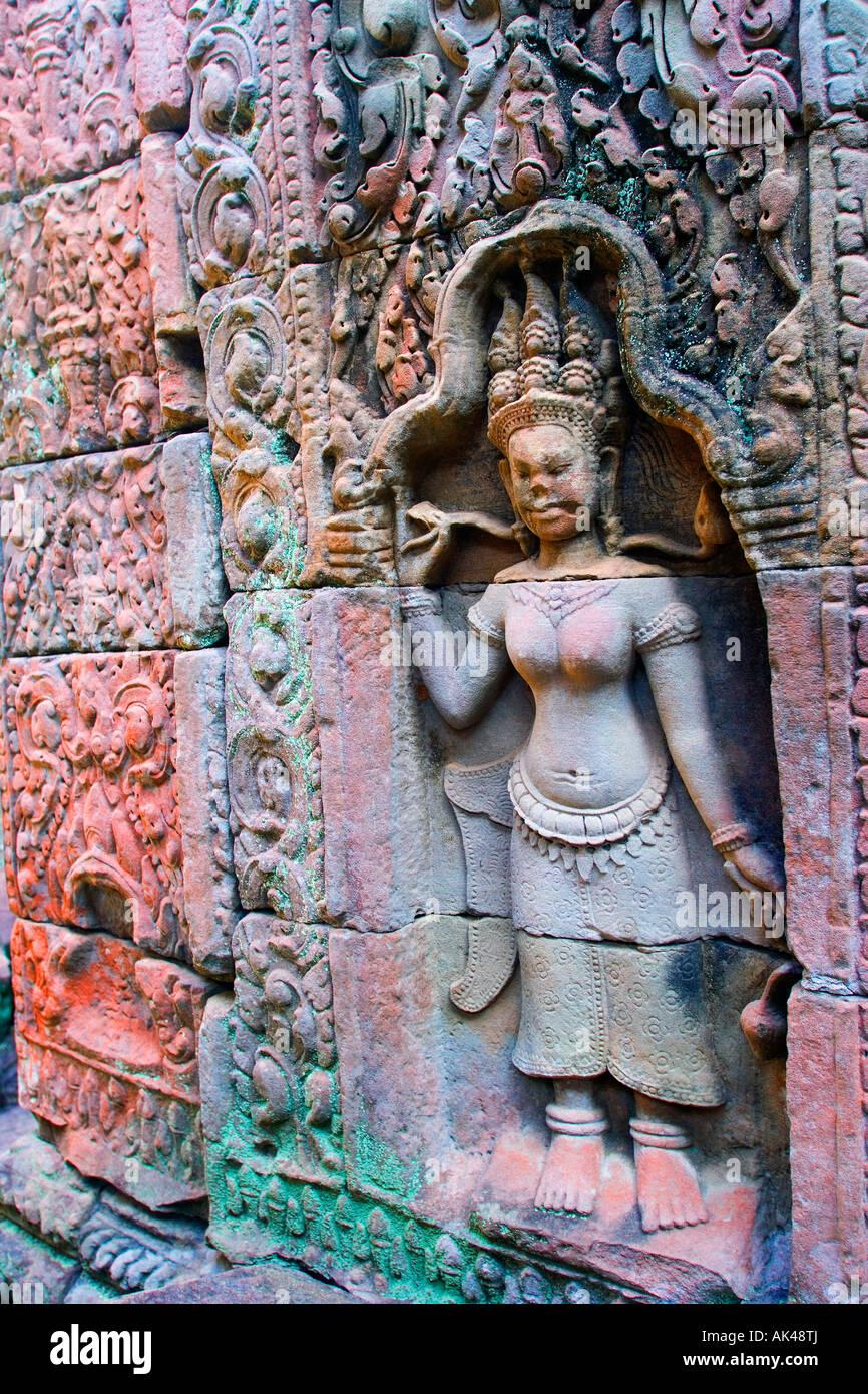Bas-relief of Hindu myths at Angkor Wat, Angkor, Cambodia - Stock Image