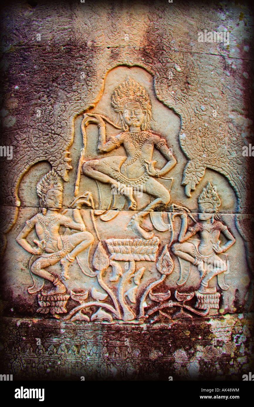 Bas-reliefs of Hindu myths at Bayon Temple of Angkor Thom, Angkor, Cambodia - Stock Image