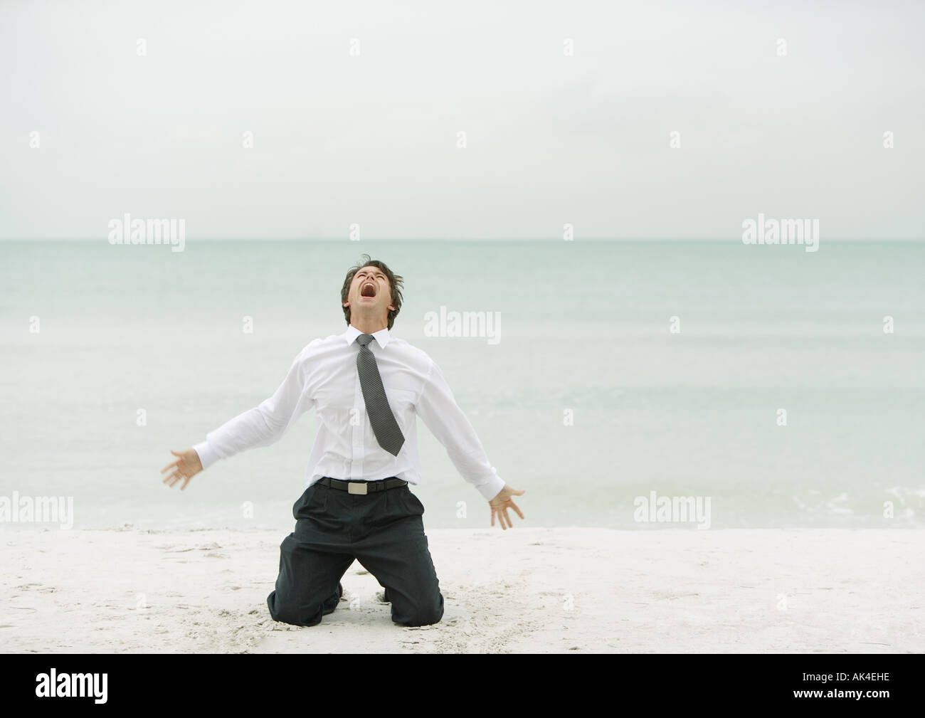 Businessman down on knees, screaming, on beach - Stock Image