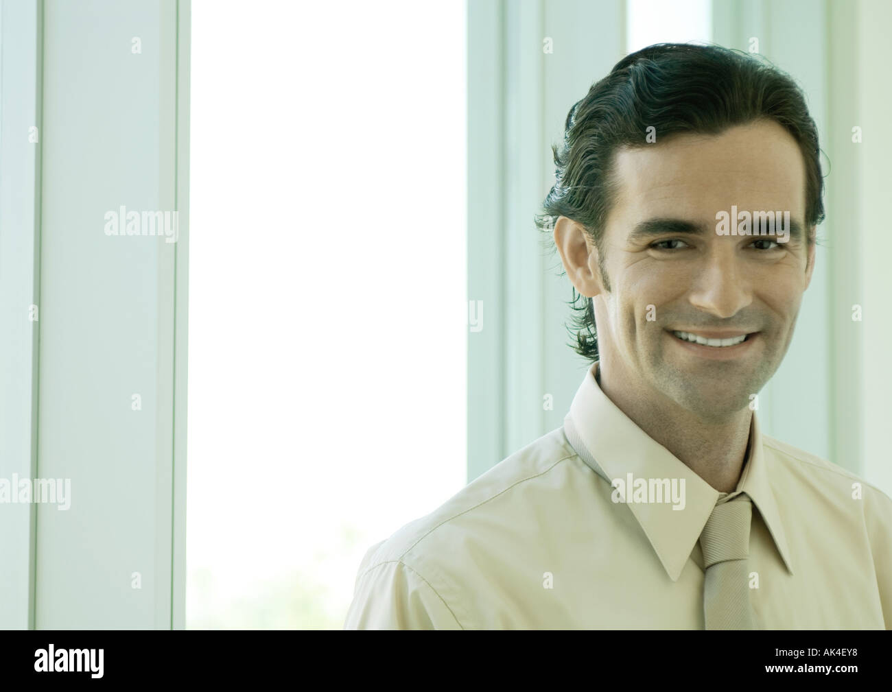 Businessman smiling, portrait - Stock Image