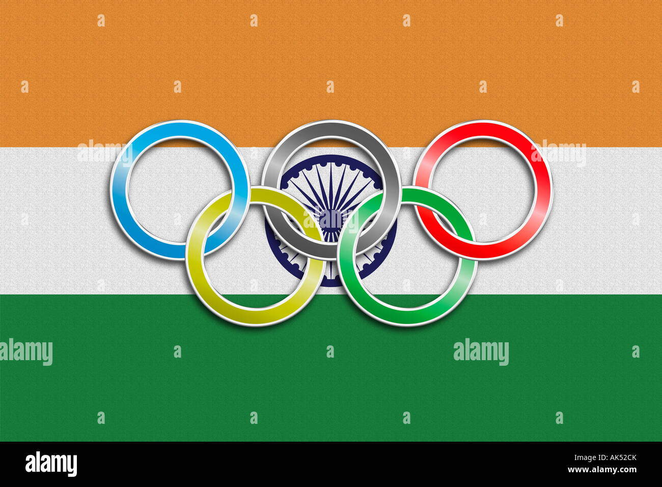 Flag Of India With Olympic Symbol Stock Photo 14887410 Alamy