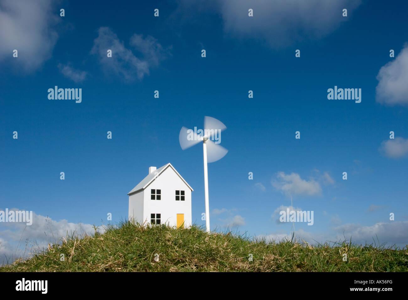 Model house and wind turbine Stock Photo