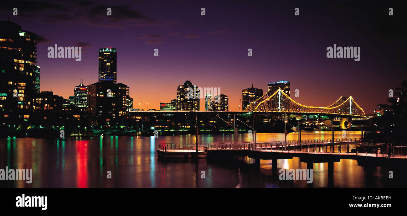 Australia, Queensland, Brisbane, City skyline, Story Bridge, Night view, - Stock Image