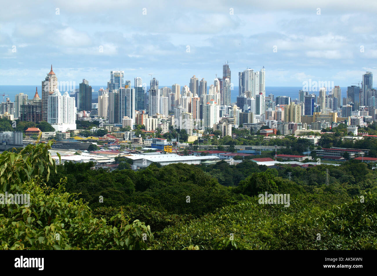 View over Panama City from the hill of Metropolitan park, Panama province, Republic of Panama. November, 2007. - Stock Image