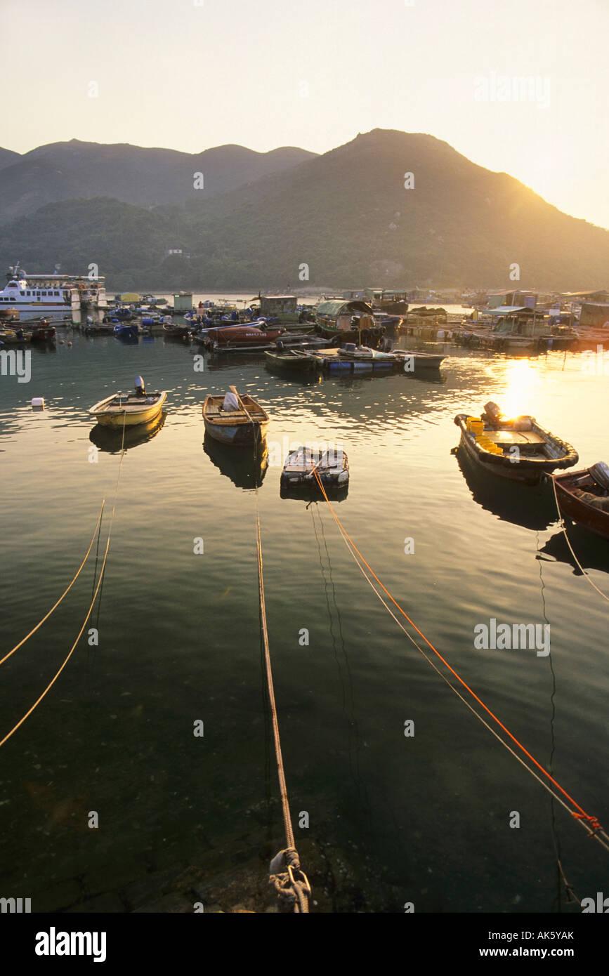 Moored boats on Sok Kwu Wan Bay Lamma Island Hong Kong China - Stock Image