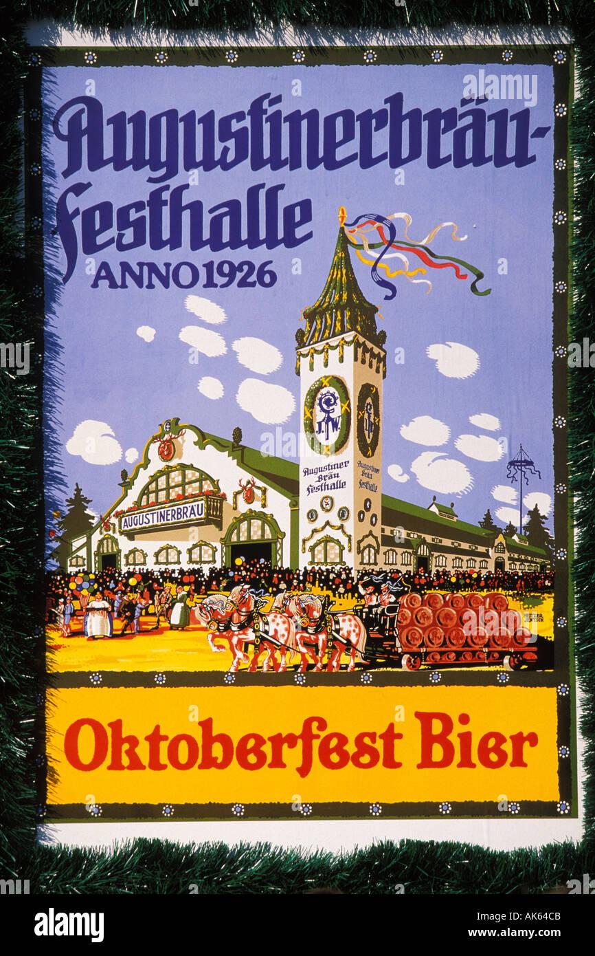 Germany, Munich, Oktoberfest, Oktoberfest poster - Stock Image