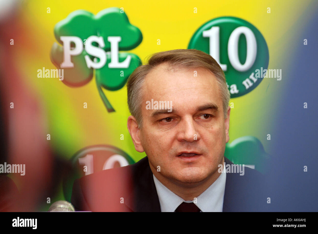 Waldemar Pawlak - former Polish Prime Minister - from Polskie Stronnictwo Ludowe party (Peasant Party) - Stock Image
