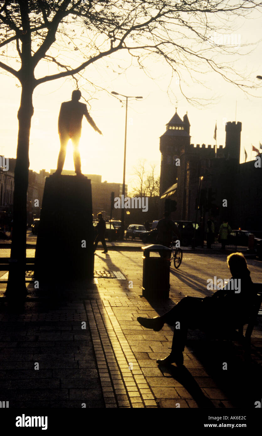Nye Bevan Statue Queen Street Cardiff City Centre South Glamorgan Wales UK AH1  - Stock Image