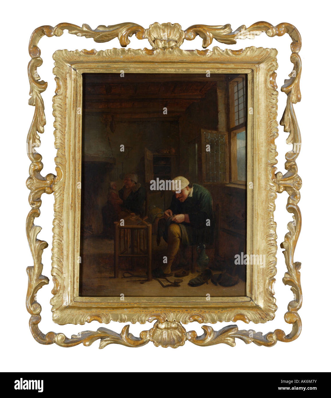 Circa 1658 Dutch oil painting in a gold wood frame - Stock Image