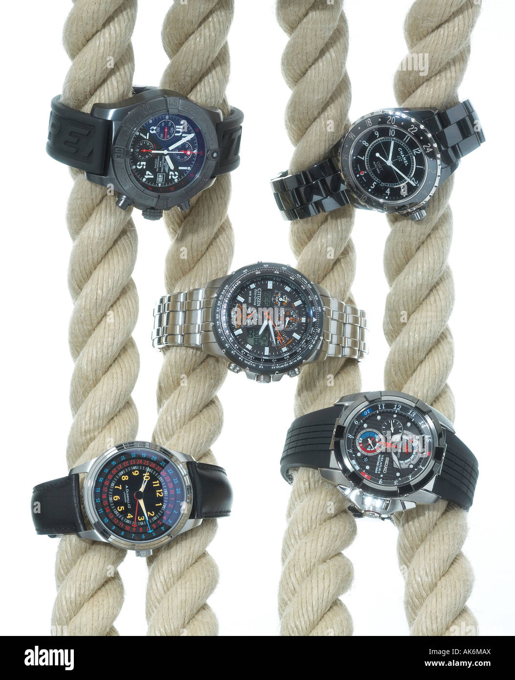Five wristwatches on ropes - Stock Image
