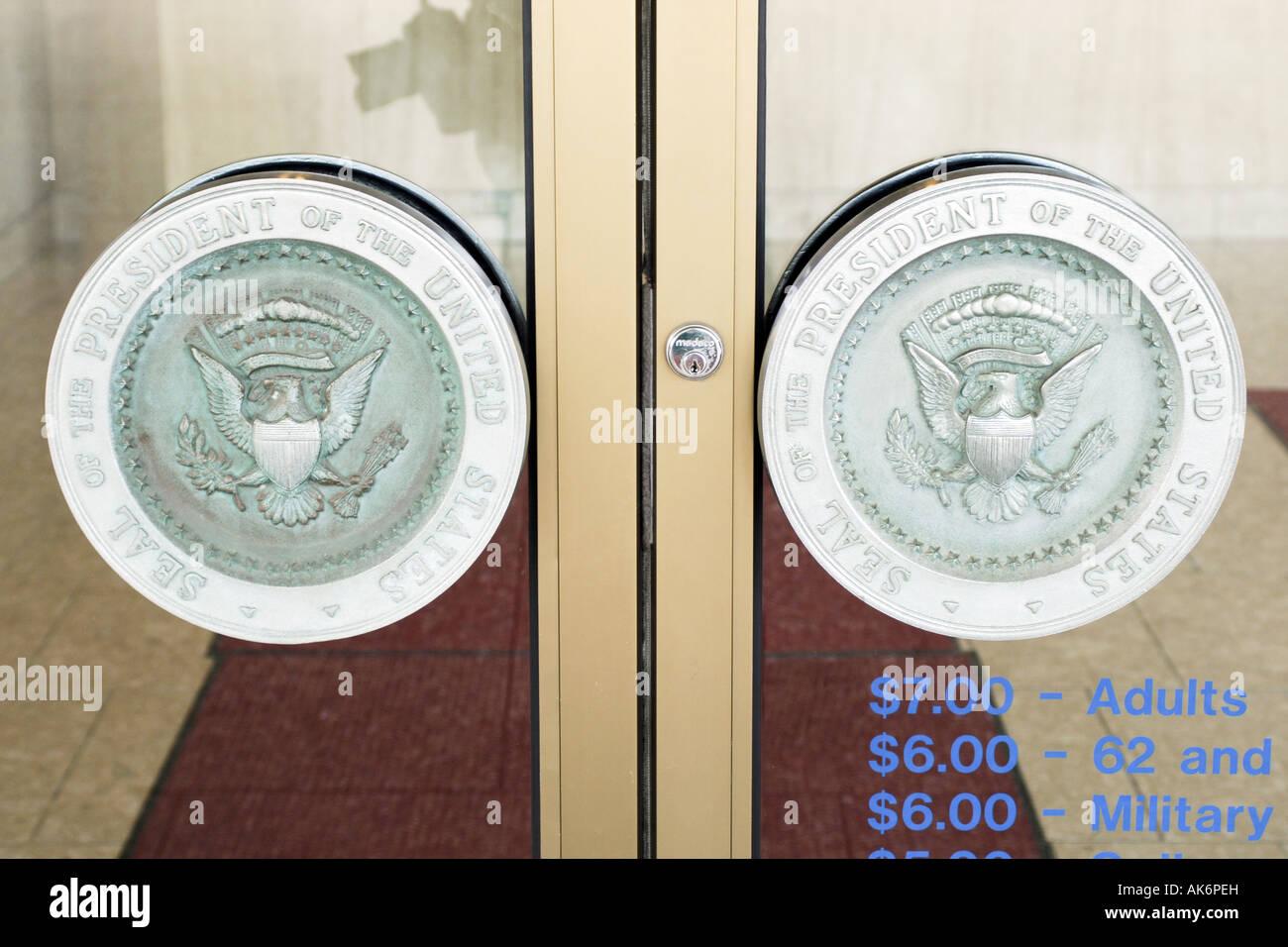 Presidential seal door handles at the Gerald R Ford Museum Grand Rapids Michigan MI - Stock Image