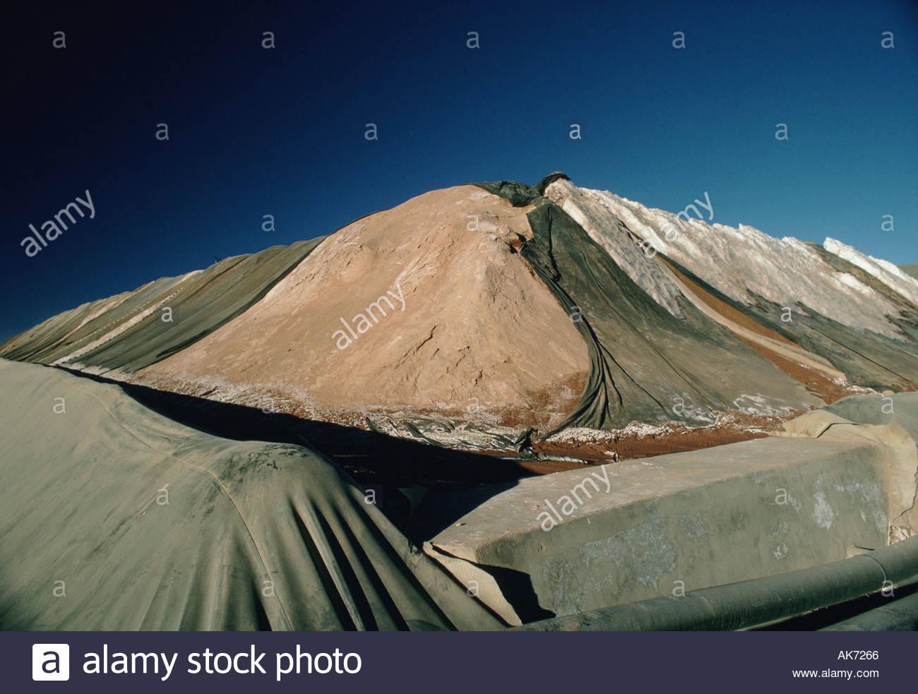 BOLIVIA Andes 14000 feet high silver slag heap next to Potosi city - Stock Image
