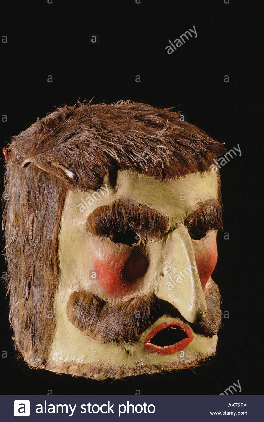 MEXICO San Luis Potosi city National Museum of the Mask painted leather Indian Terroncillo Dance mask from Guerrero State - Stock Image