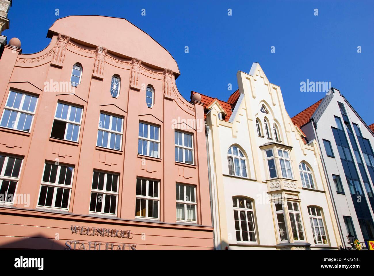 Row of houses / Wismar - Stock Image