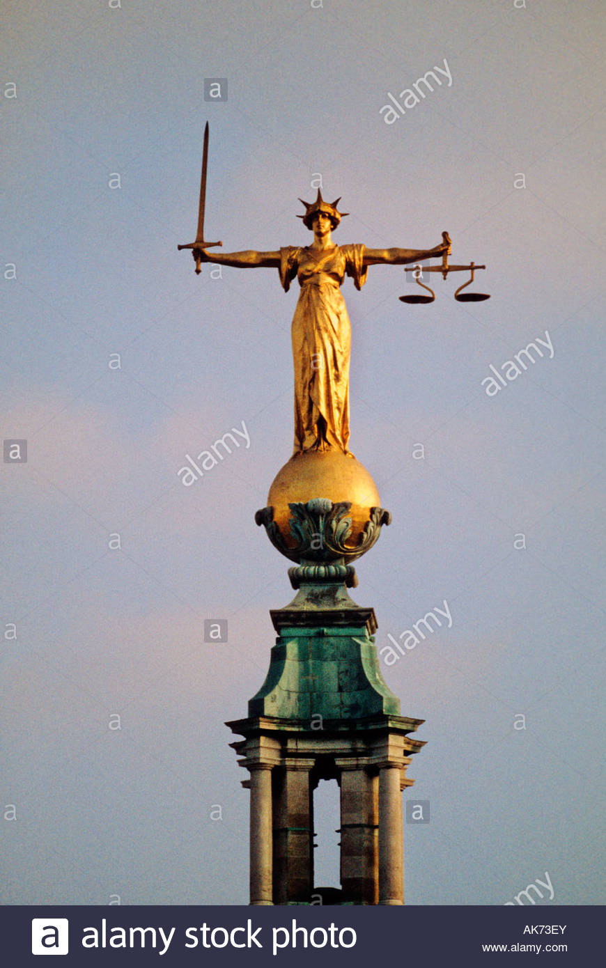 Statue of Justice on Old Bailey law courts, London - Stock Image