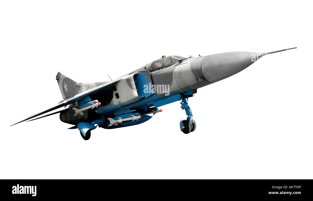 MIG-23 Flogger Russian interceptor tactical fighter - Stock Image