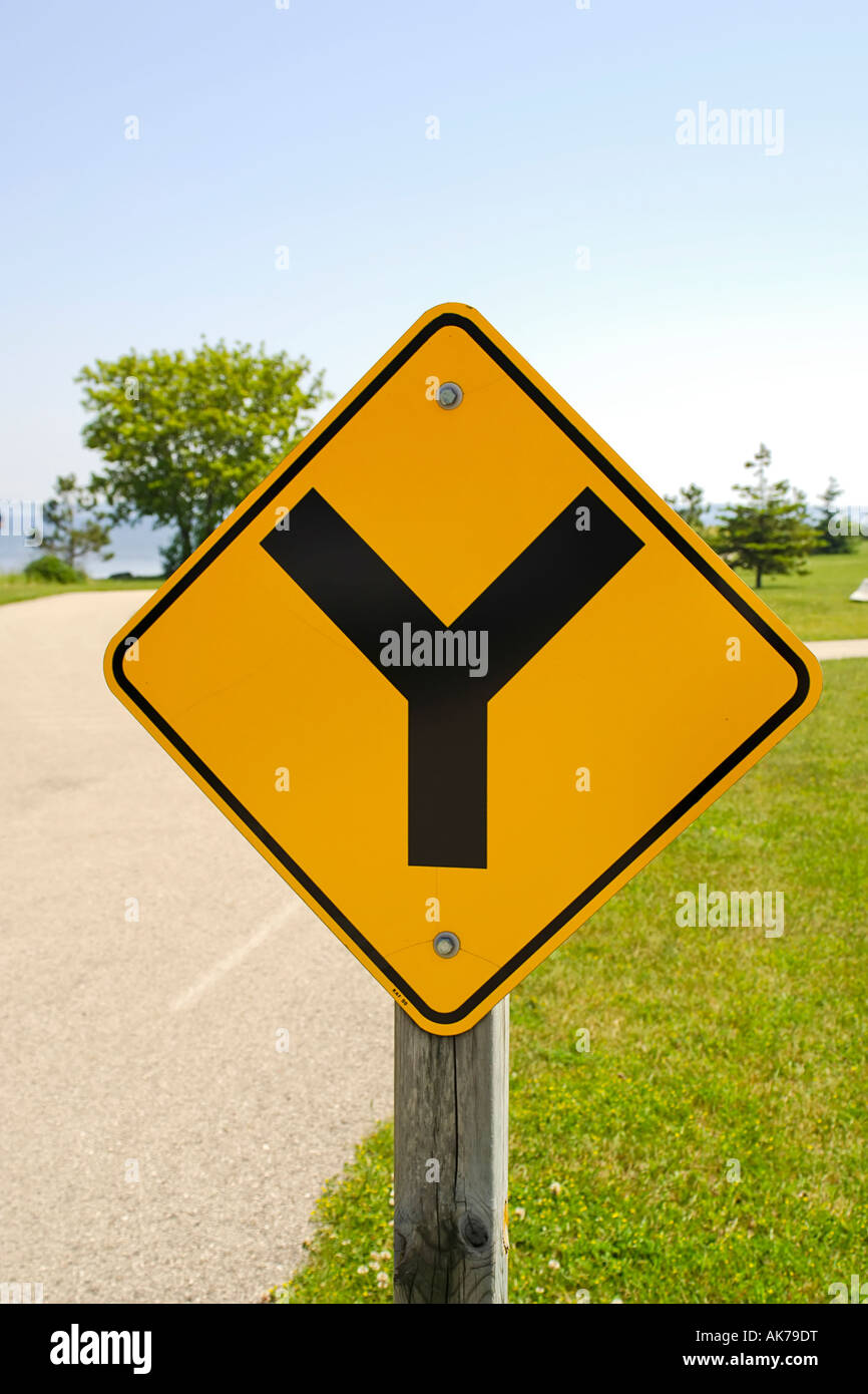 12ce5a0bb70f Y Road sign black Y on a yellow background Stock Photo  14908595 - Alamy