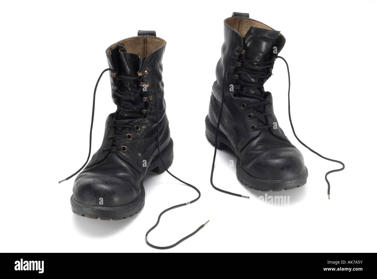 British army Forces issue black army leather boots - Stock Image
