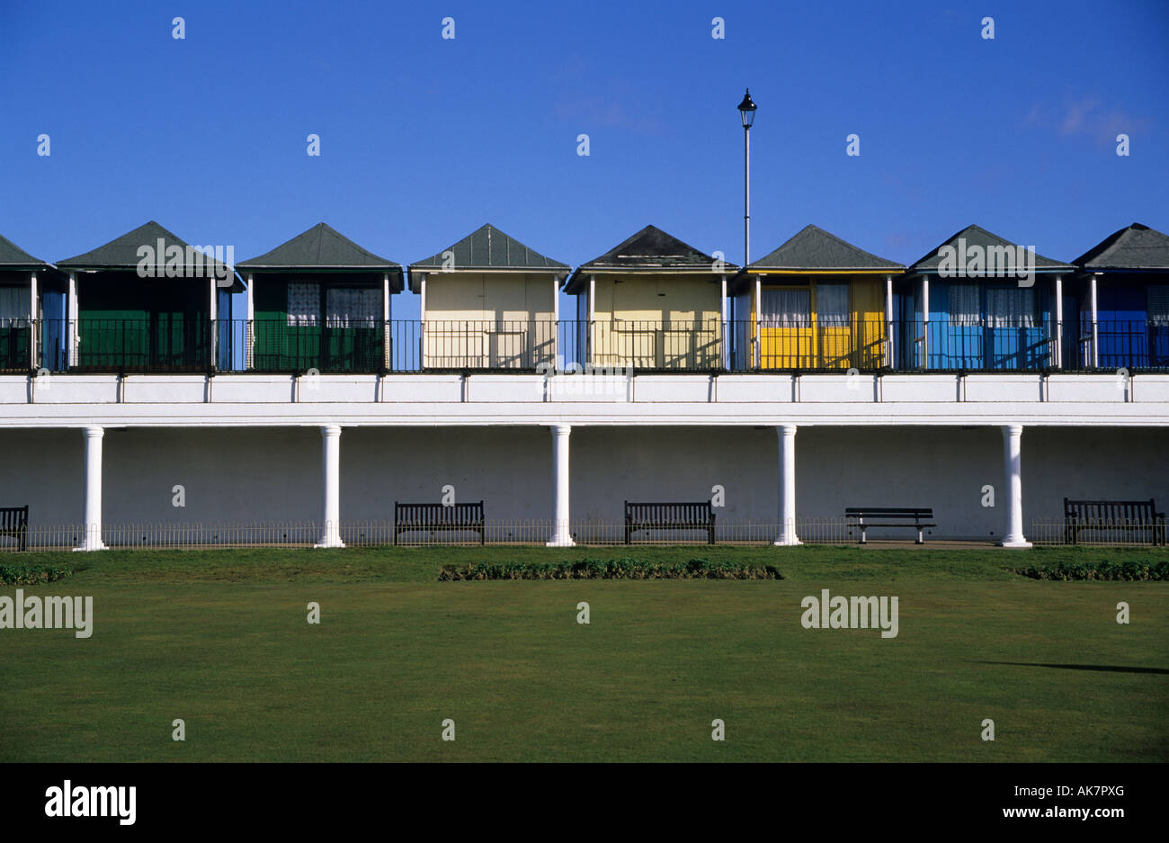 Beach Huts at Sutton on Sea, Lincolnshire England UK - Stock Image