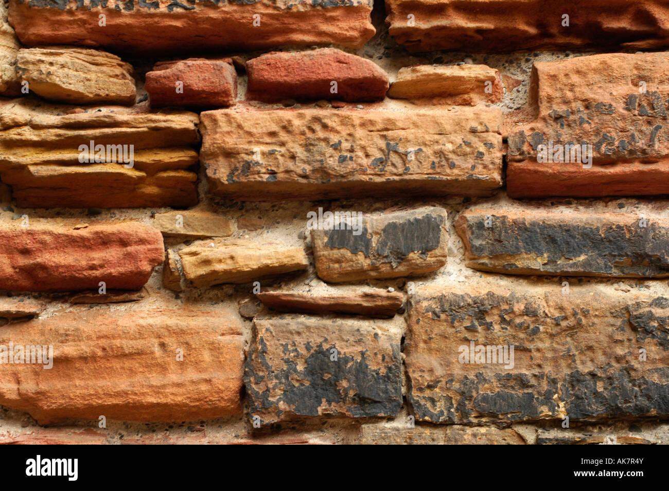 STONE PATTERN WALL - Stock Image