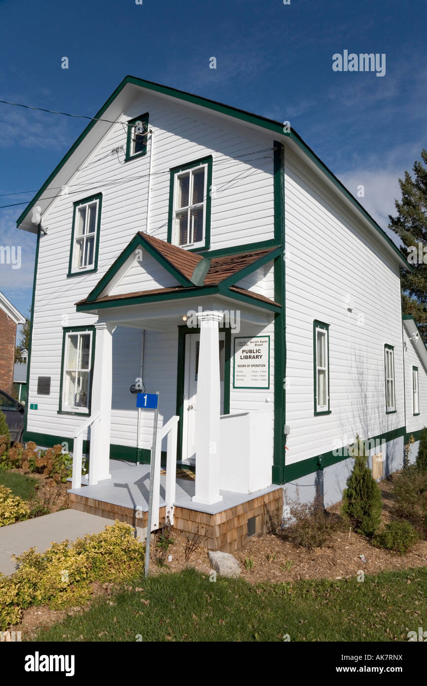 Public Library in former lock keeper s house on Rideau Canal Burritts Rapids Ontario Canada - Stock Image
