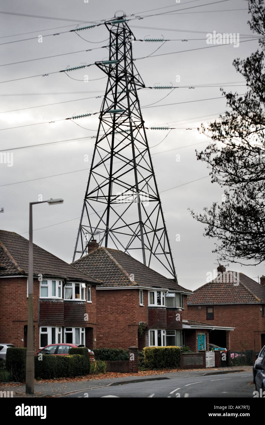 An electricity pylon standing over houses in Worcester UK Stock ...