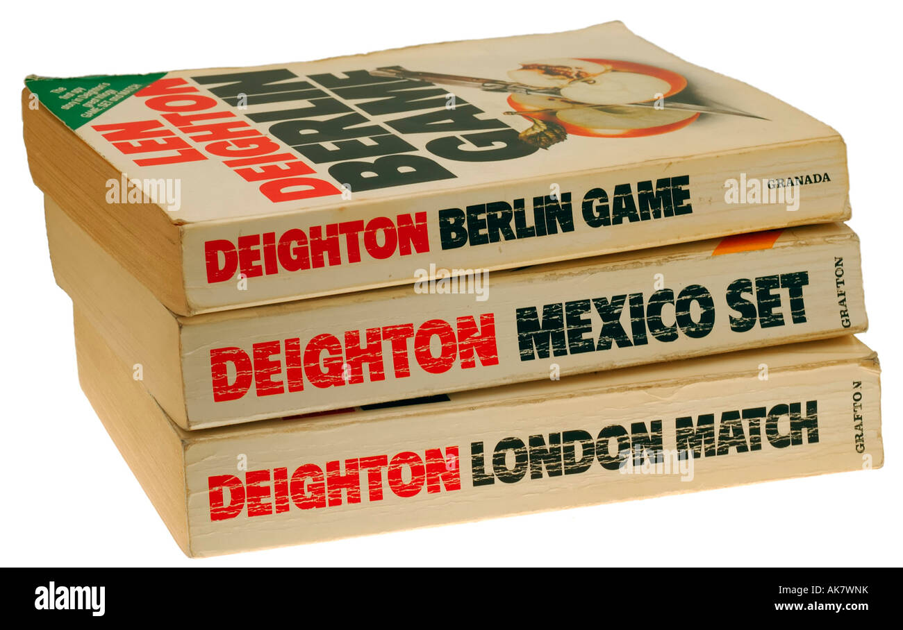 Berlin Game Mexico Set and London Match Trilogy by Author Len Deighton - Stock Image
