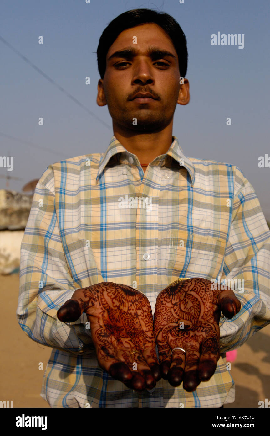 Rajasthani Village Groom 3 Days After His Wedding Still With Henna Painted Hands Pushkar