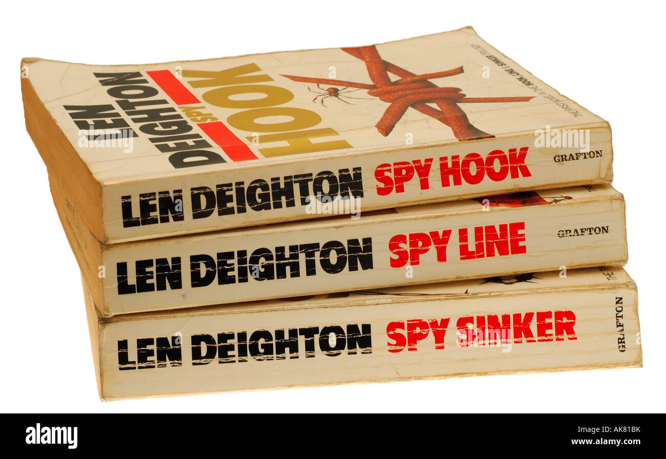 The Spy Hook Spy Line and Spy Sinker Trilogy by Author Len Deighton - Stock Image