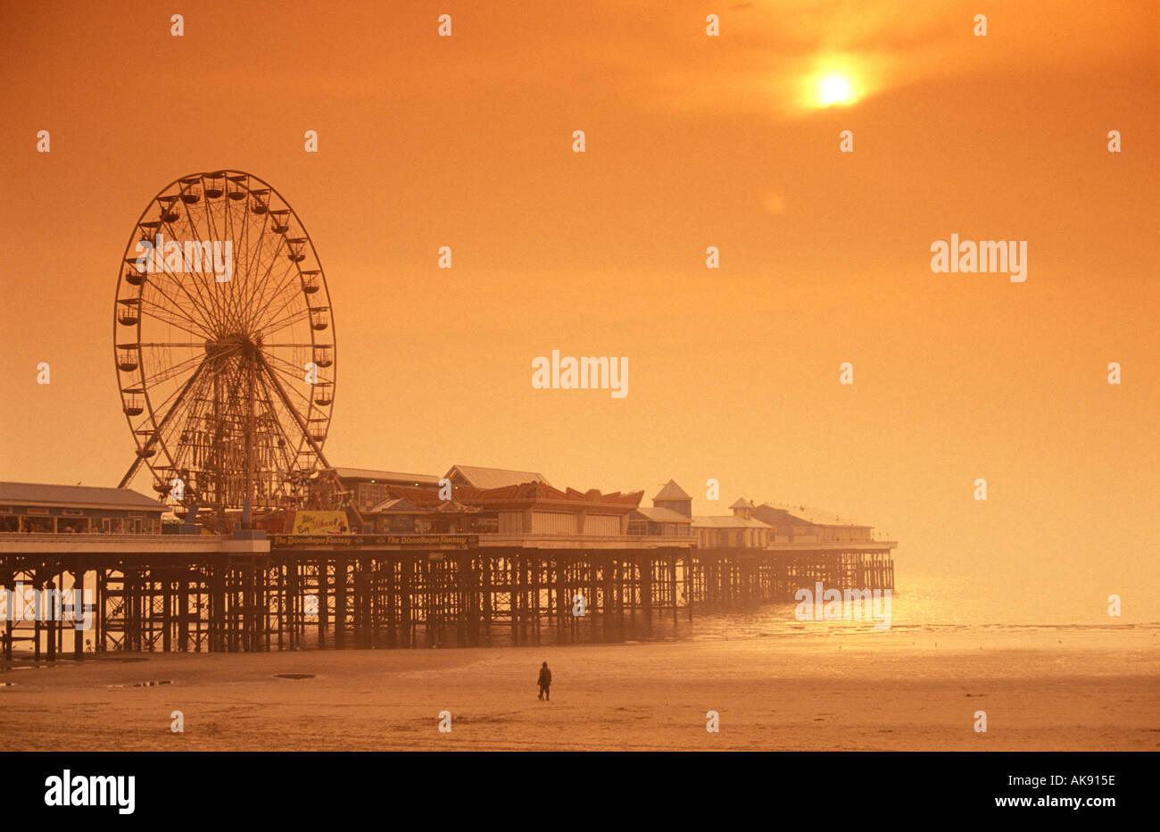 central pier blackpool beach lancashire england uk - Stock Image