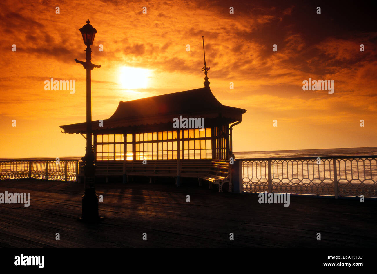 st anne s pier silhouette sunset lancashire england uk - Stock Image