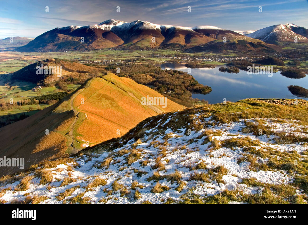 A Panoramic View of the Skiddaw Range, Keswick and Derwent Water from Cat Bells, The Lake District, Cumbria, England, - Stock Image