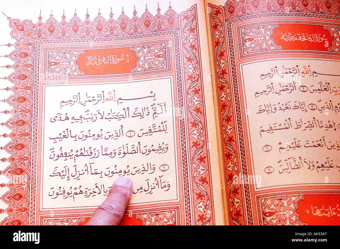 Reading the Koran the muslims holy book  - Stock Image