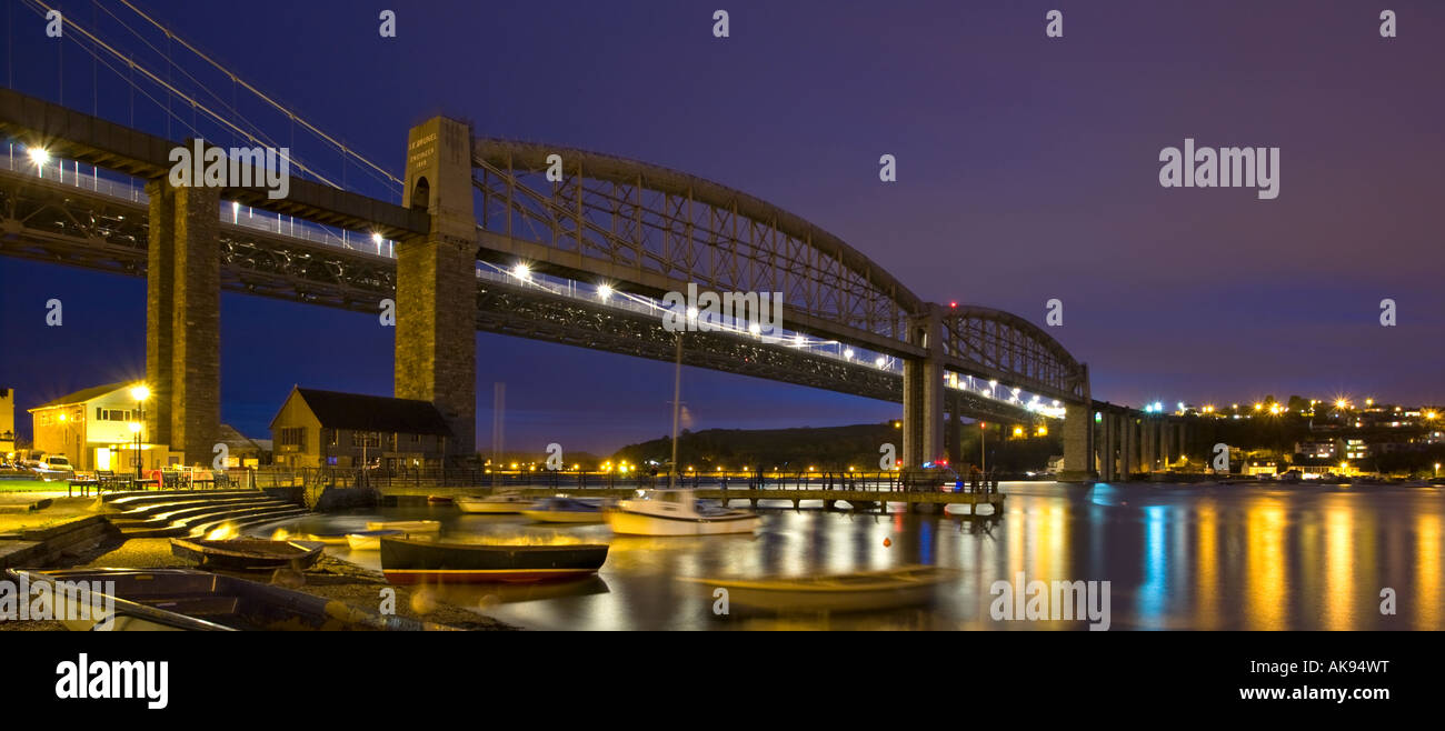 The road and rail bridges over the River Tamar as seen from Saltash Cornwall UK - Stock Image