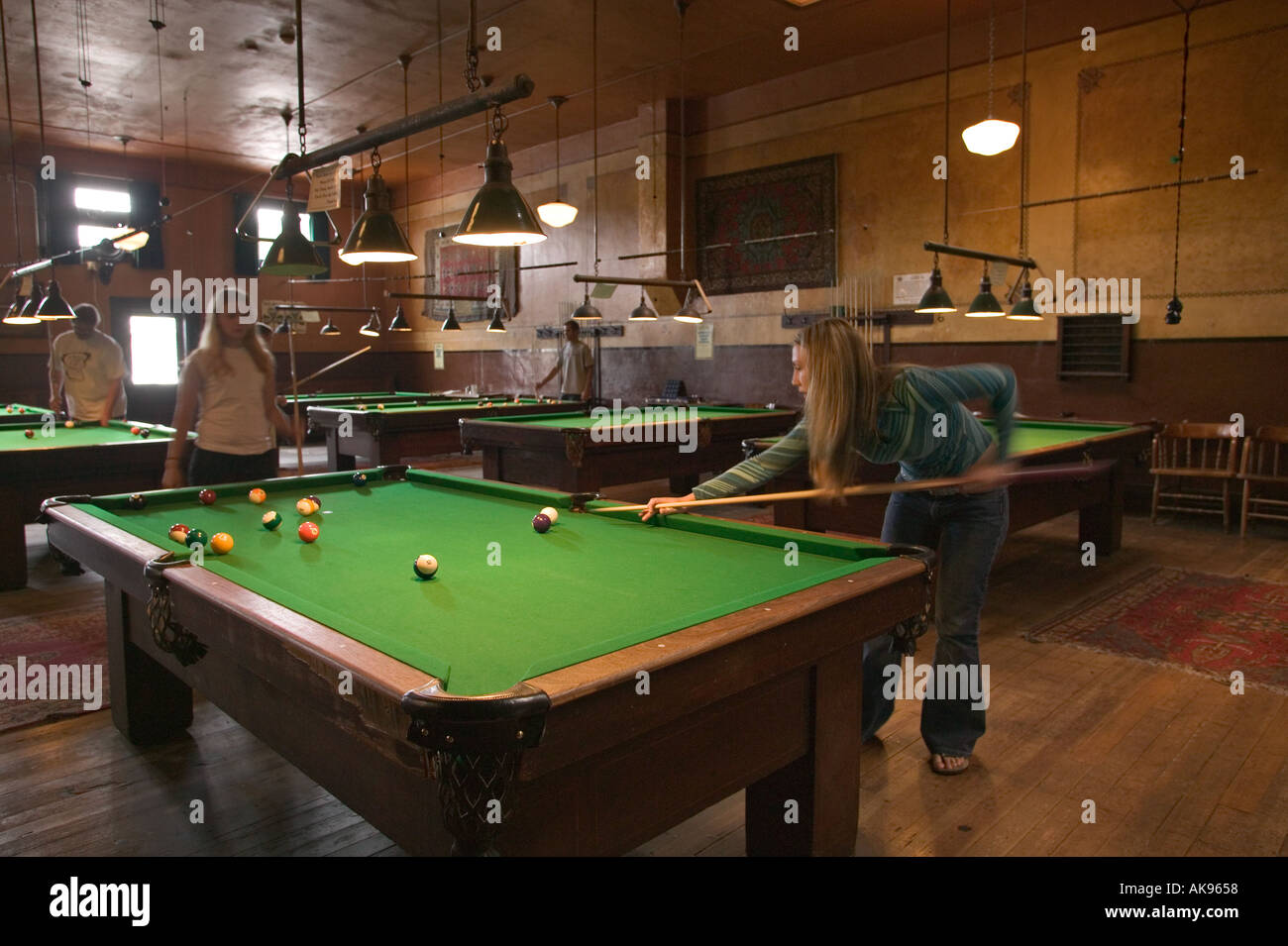 Young Women Playing Pool On Vintage Pool Tables In The Billiards Room At  Olympic Club Hotel Centralia Washington NO RELEASE AV