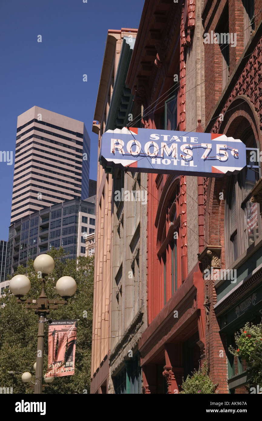 State Hotel vintage 75 hotel rooms sign in Pioneer Square Seattle Washington