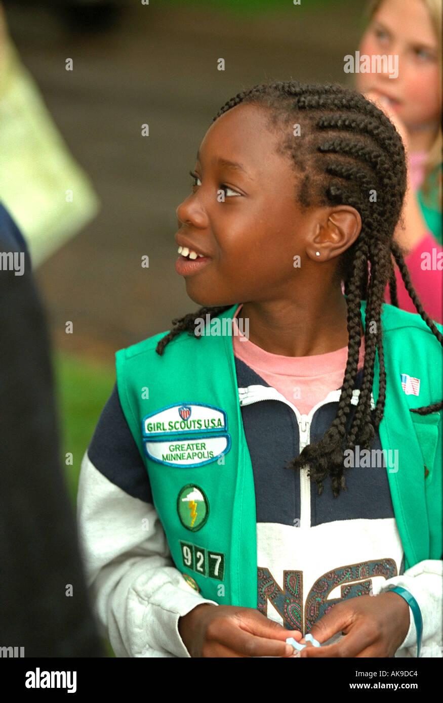 Black Girl Scout age 11 at Parktacular Parade. St Louis Park Minnesota USA - Stock Image