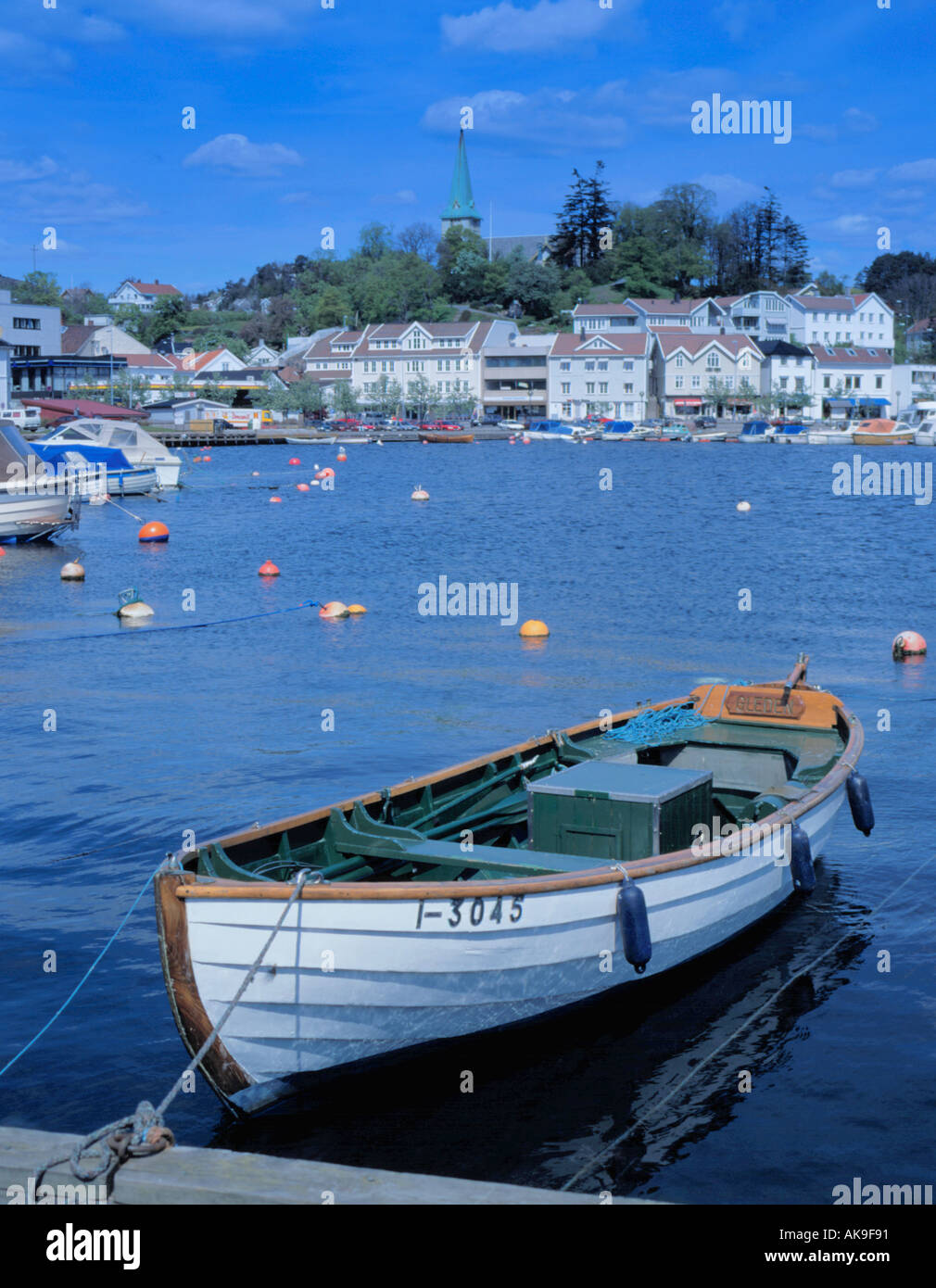 View over waterfront and harbour, Grimstad, Aust-Agder, Norway. - Stock Image