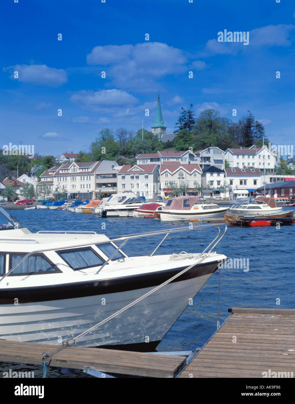View over boats and harbour Grimstad, Aust-Agder, Norway. - Stock Image