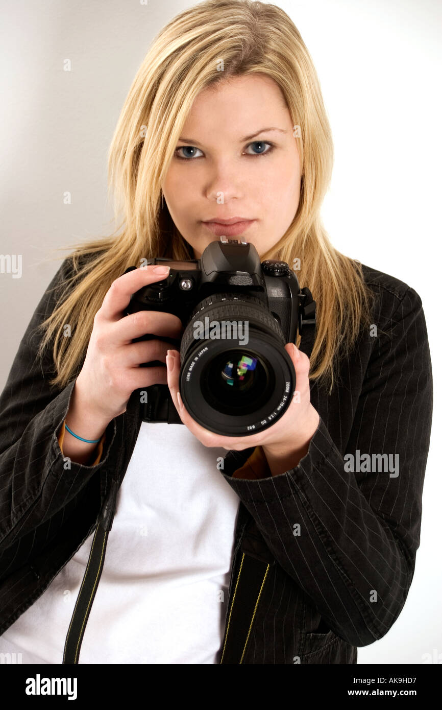 Girl with camera - Stock Image