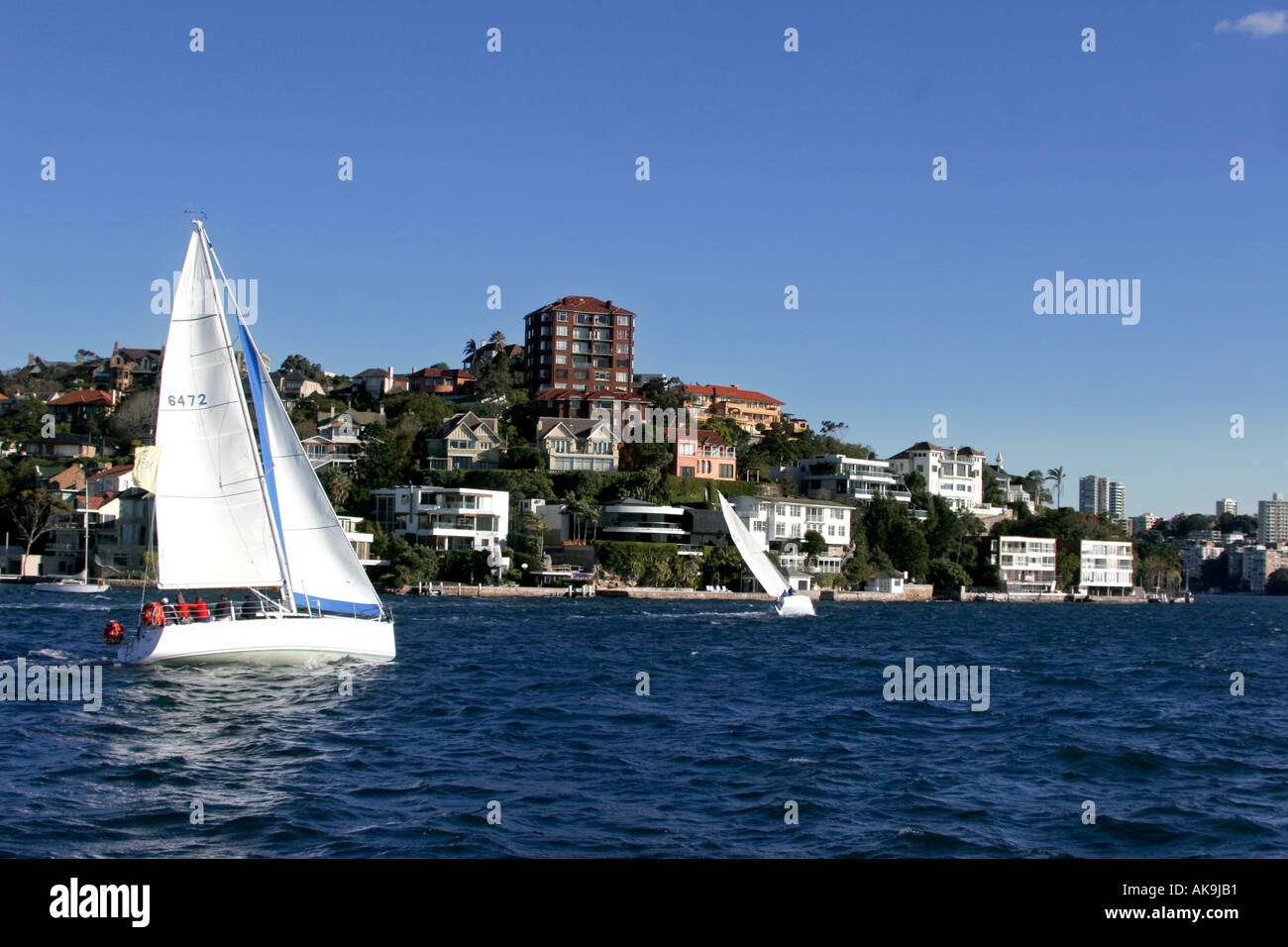 Yachting off Point Piper Sydney Harbor - Stock Image
