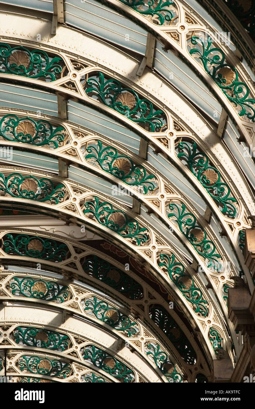 Detail of Glass Roof Structure at County Arcade in the Victoria Quarter Leeds West Yorkshire England - Stock Image