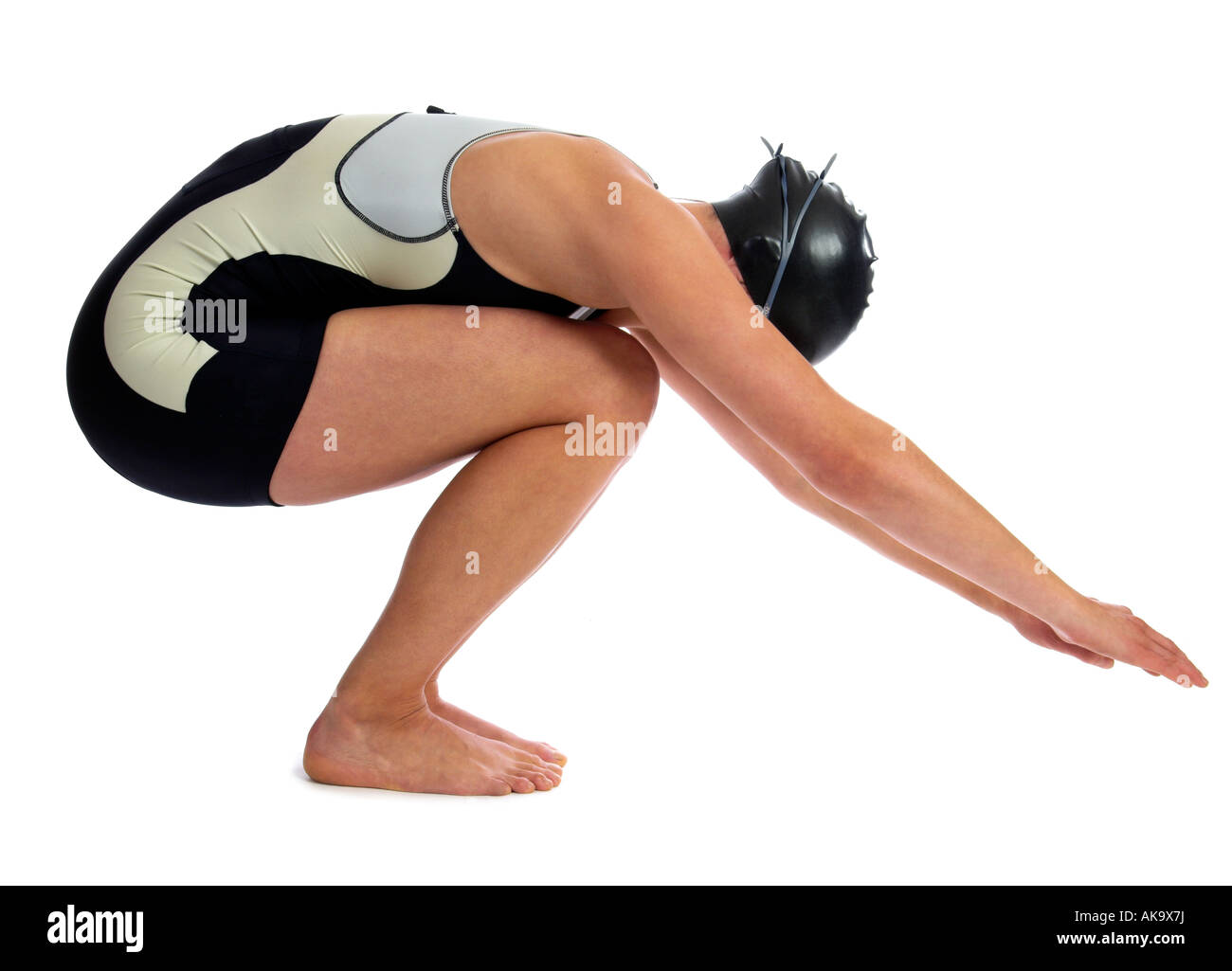 A young woman triathlete as a swimmer - Stock Image