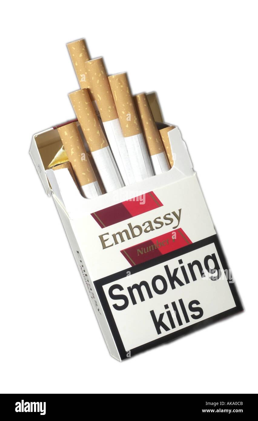Packet of Embassy cigarettes UK - Stock Image
