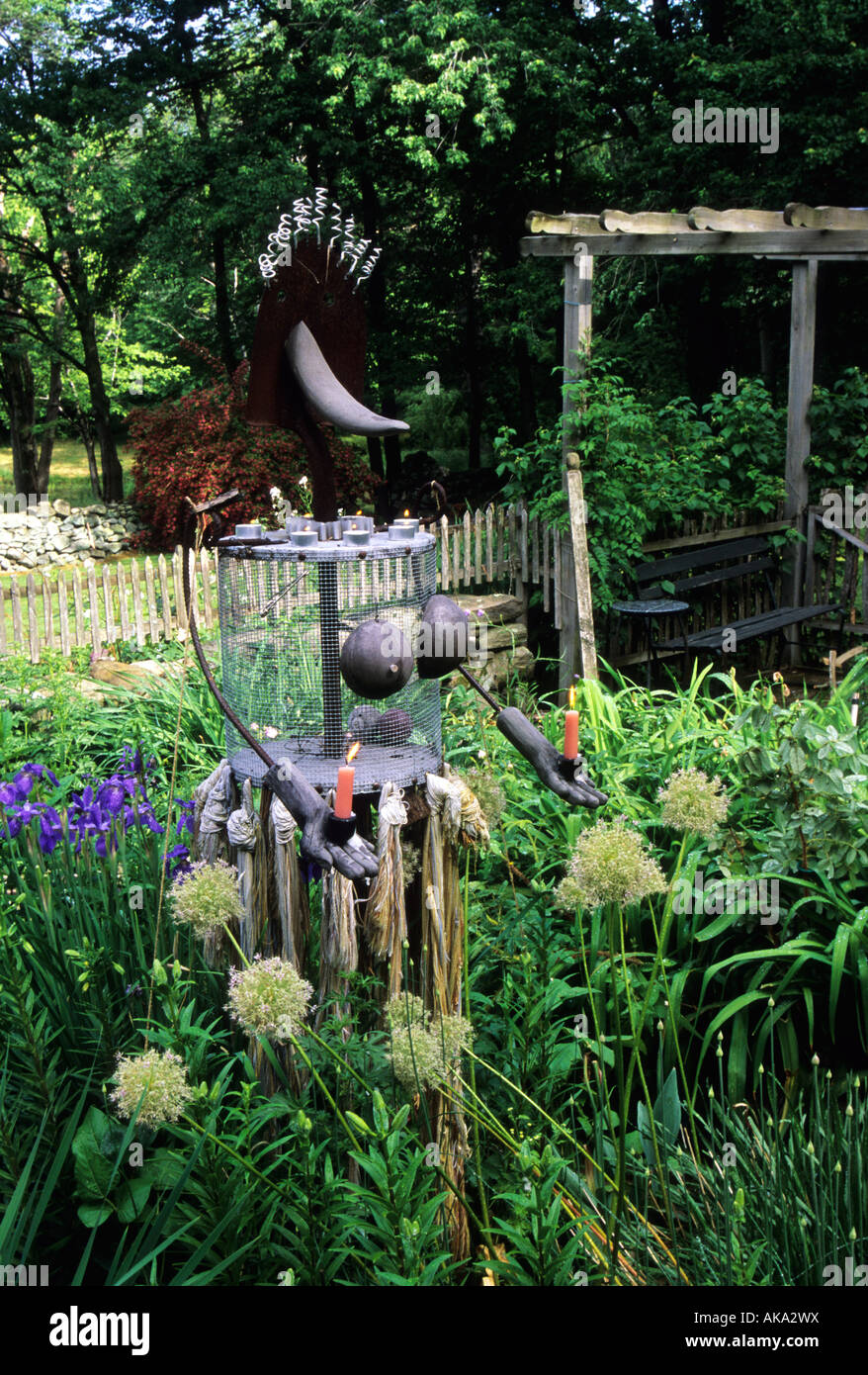 The Simpsons garden New York USA found object sculpture - Stock Image