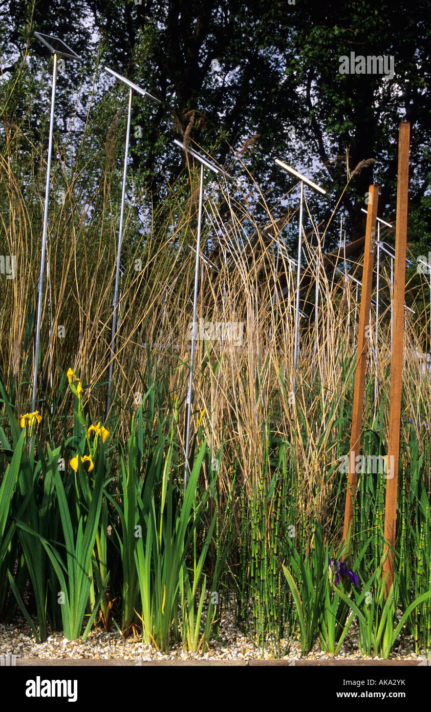 Chelsea Flower Show 2002 design Wagglesworth and Walker contemporary garden with linear sculpture reflecting reeds - Stock Image