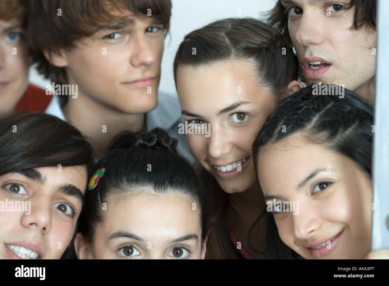 Group of young friends posing for photo, looking at camera, cropped, portrait - Stock Image