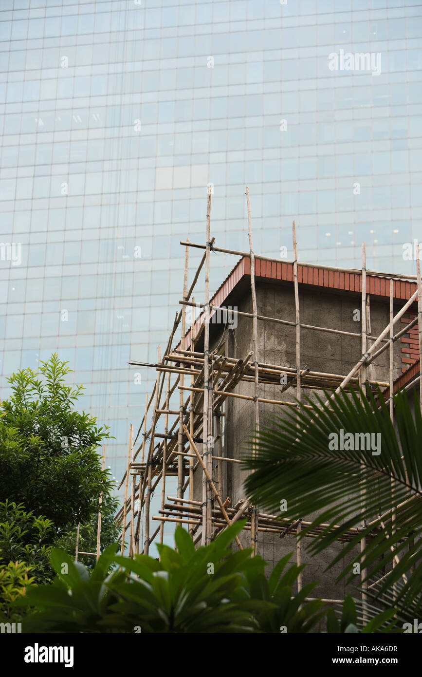 Bamboo scaffolding around building, glass facade of skyscraper in background - Stock Image