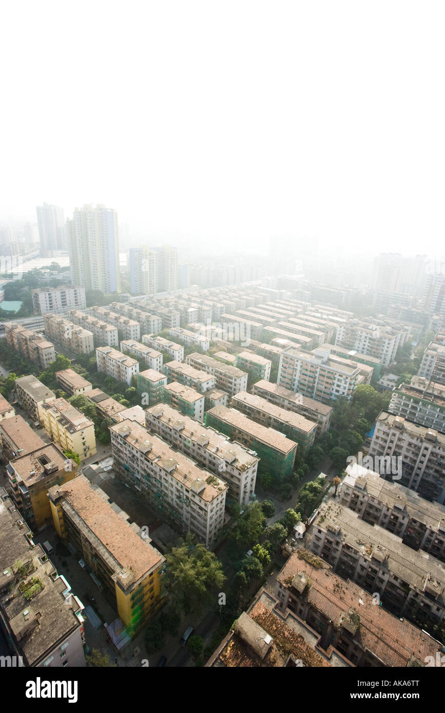 China, Guangdong Province, Guangzhou, housing projects, aerial view - Stock Image